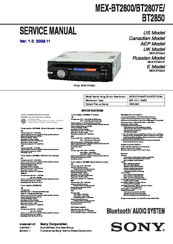 Sony Car Audio service manuals - Page 19