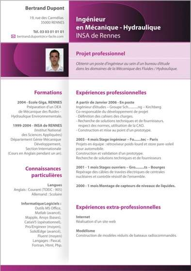 cv word informatique