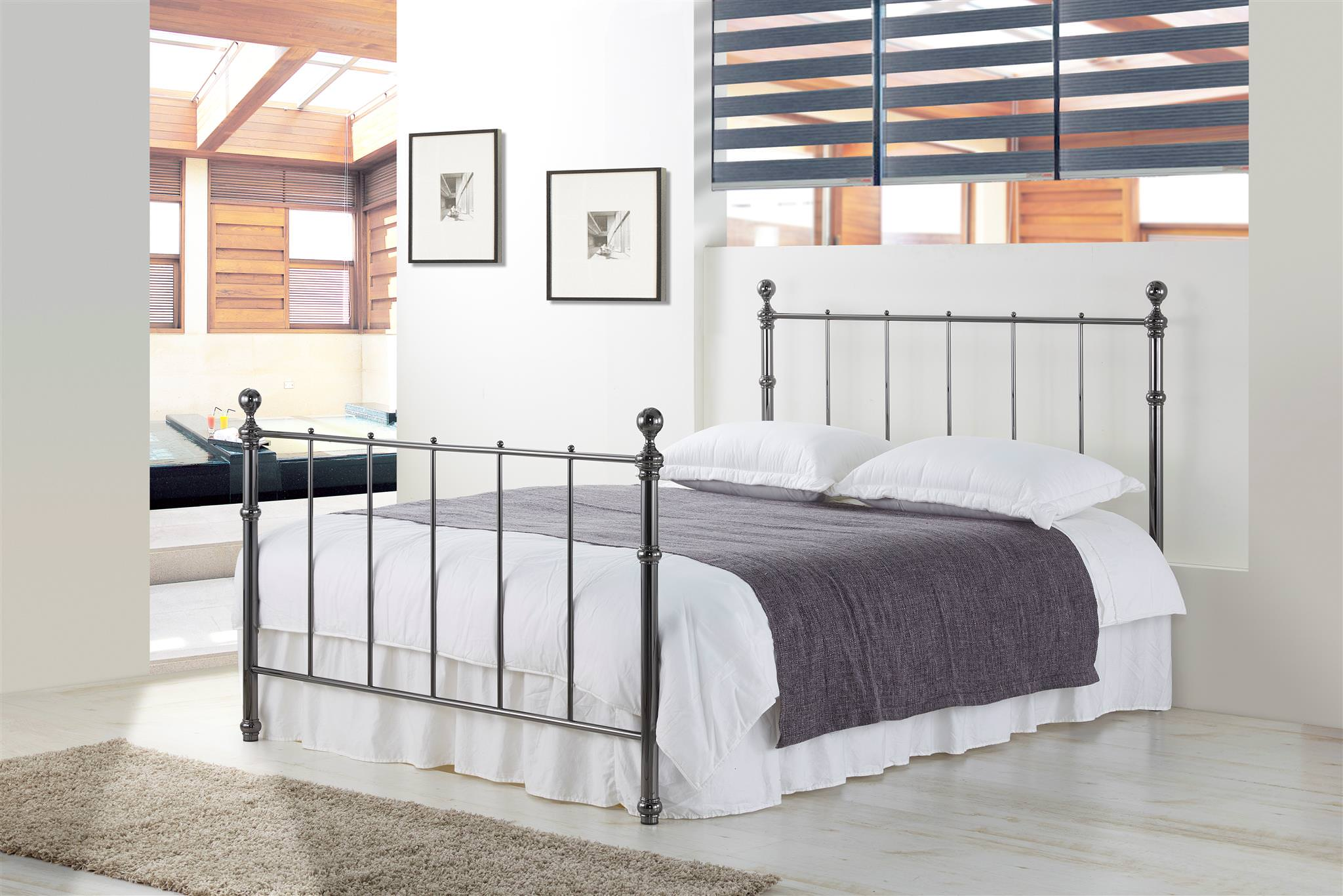 4ft6 Bed Frame Details About Maisie Black Nickel Metal Bed Frame Classic Style 4ft6 Double 5ft King Size