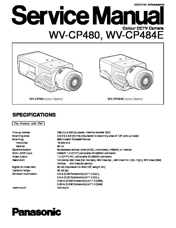 Panasonic WV-CP480, WV-CP484E Service Manual \u2014 View online or