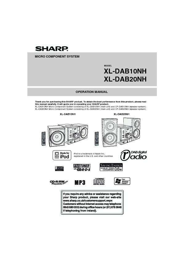 Sharp XL-DAB User Guide / Operation Manual \u2014 View online or Download - operation manual