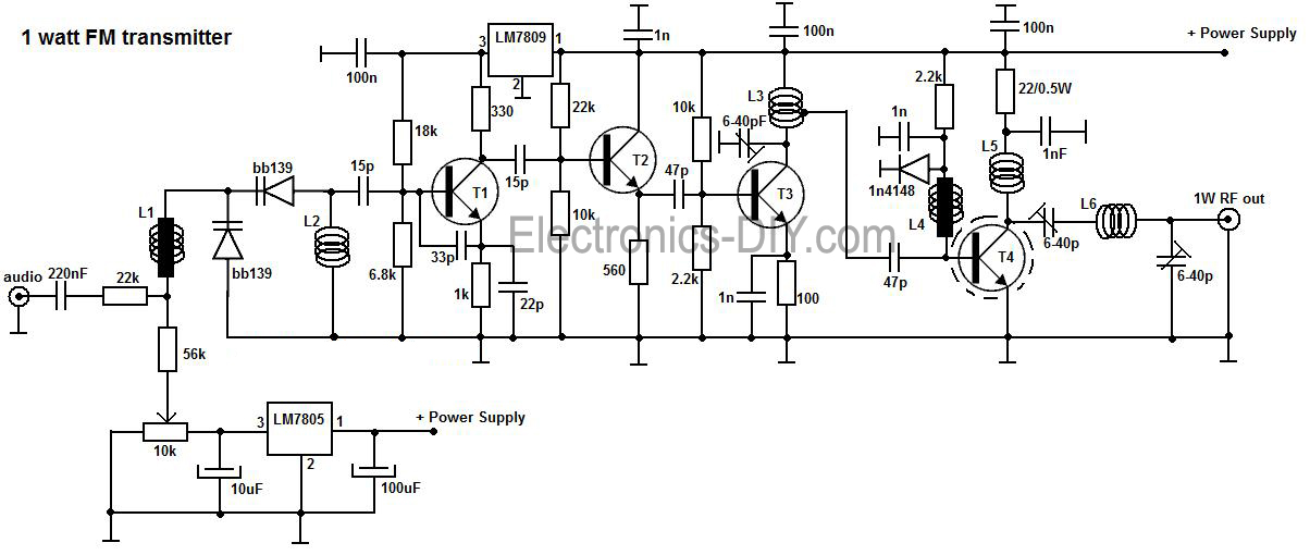 1 watt fm amplifier circuit