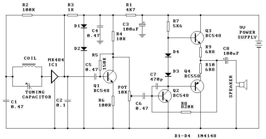 ic 484 am radio receiver circuit diagram