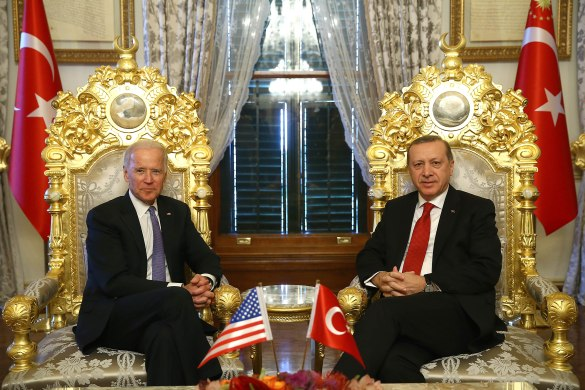 JANUARY 23: President of Turkey, Recep Tayyip Erdogan and Vice President of the United States, Joe Biden meet at historical Mabeyn Palace in Yildiz Palace Complex in Istanbul, Turkey on January 23, 2016.