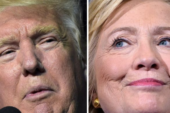 This combination of images shows Republican presidential nominee Donald Trump in Roanoke, Virginia on September 24, 2016 and Democratic presidential nominee Hillary Clinton September 21, 2016 in Orlando, Florida. Hillary Clinton and Donald Trump are in a virtual dead heat in their bitter race for the White House on the eve of their first head-to-head presidential debate, a new poll showed September 25, 2016. The Washington Post-ABC News poll found that Clinton's slim margin from last month has now vanished. Instead, the Democrat and her Republican rival tied at 41 percent support among registered voters, with Libertarian Party nominee Gary Johnson at seven percent and Green Party nominee Jill Stein at two percent.  / AFP PHOTO / DESK