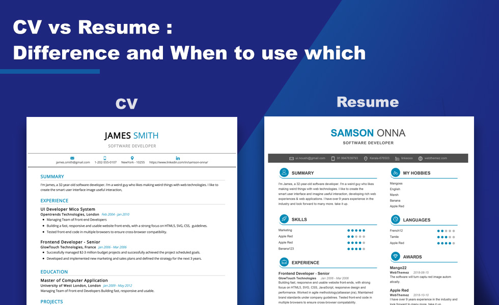 cv vs resume vs profile