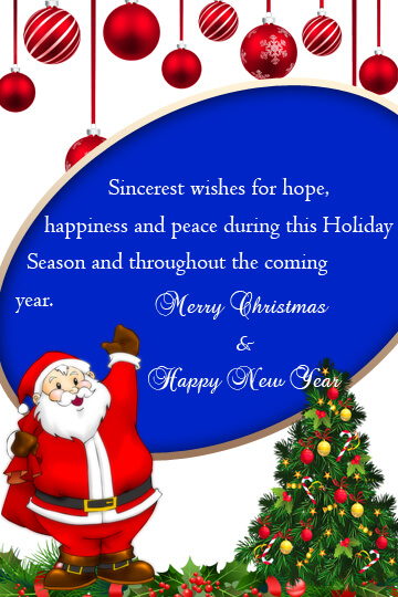 Christmas and New Year Greetings Sample for Hotel Guests - Email