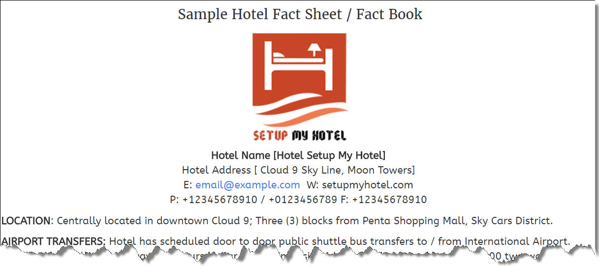 Hotel Fact Sheet Sample / Sample Hotel Information Sheet / Fact Book - sample sales sheet