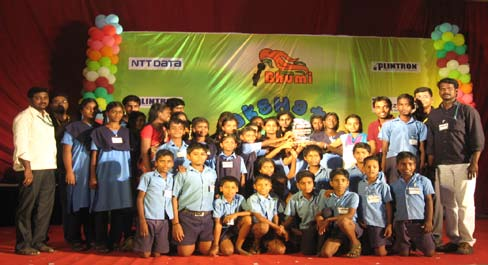Sevalaya children with their overall championship trophy
