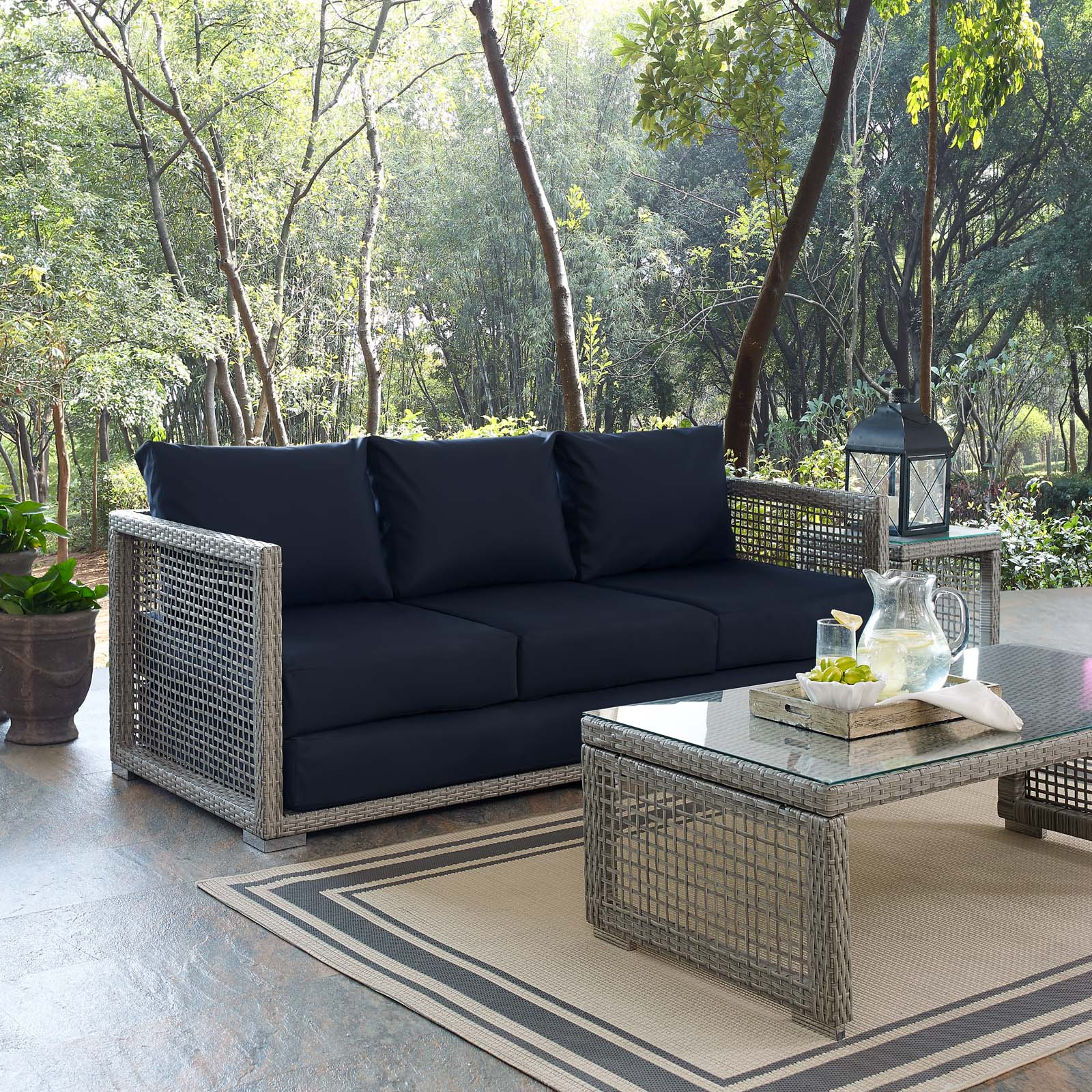 Outdoor Couch Aura Patio Wicker Rattan Sofa In Gray And Navy By Modway