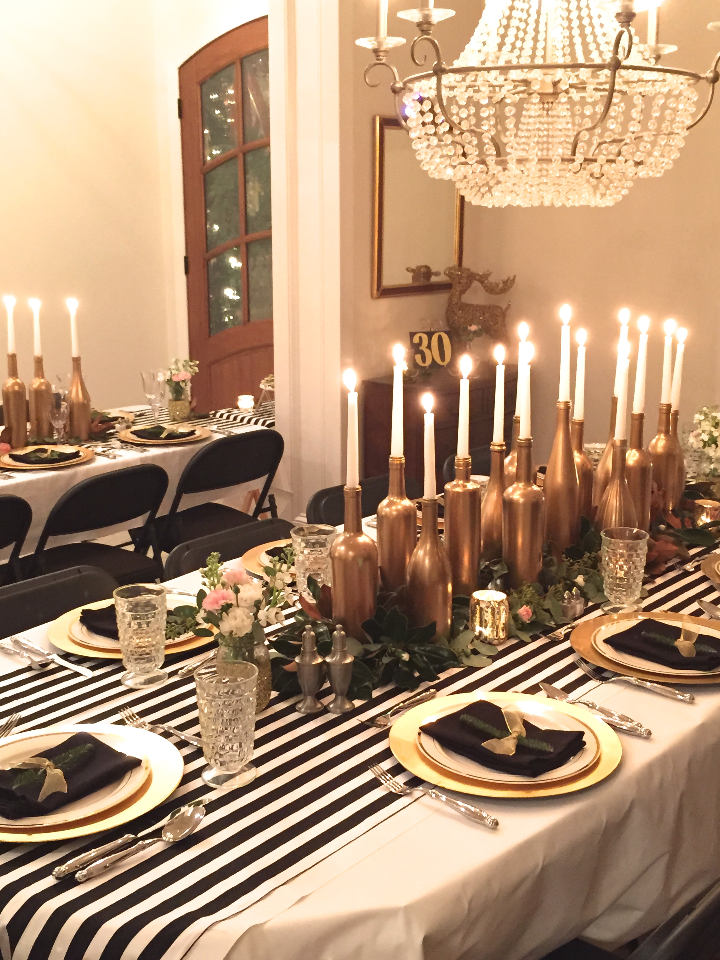 Black White Decor Gold Black And White My 30th Birthday Dinner Party