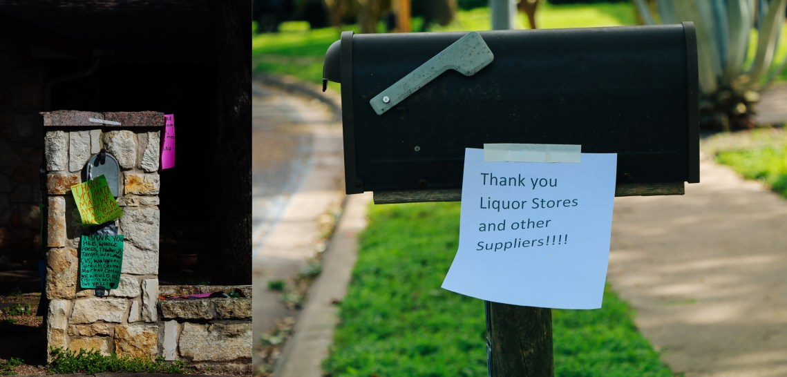 "Mail boxes with letters for delivery people, one saying ""Thank you Liquor stores and other suppliers"""