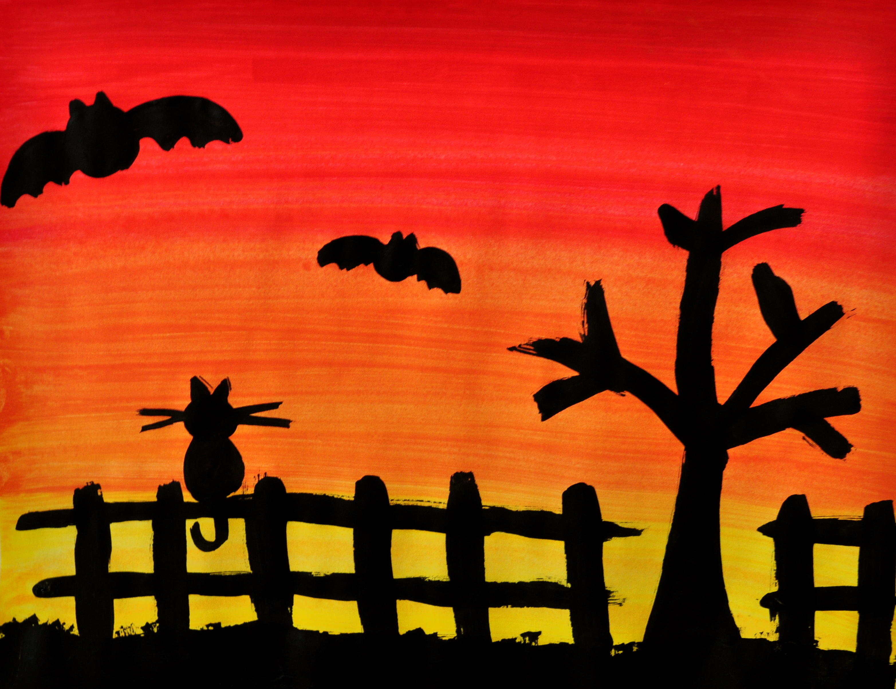 Spooky Silhouette Painting Seven Little Monkeys