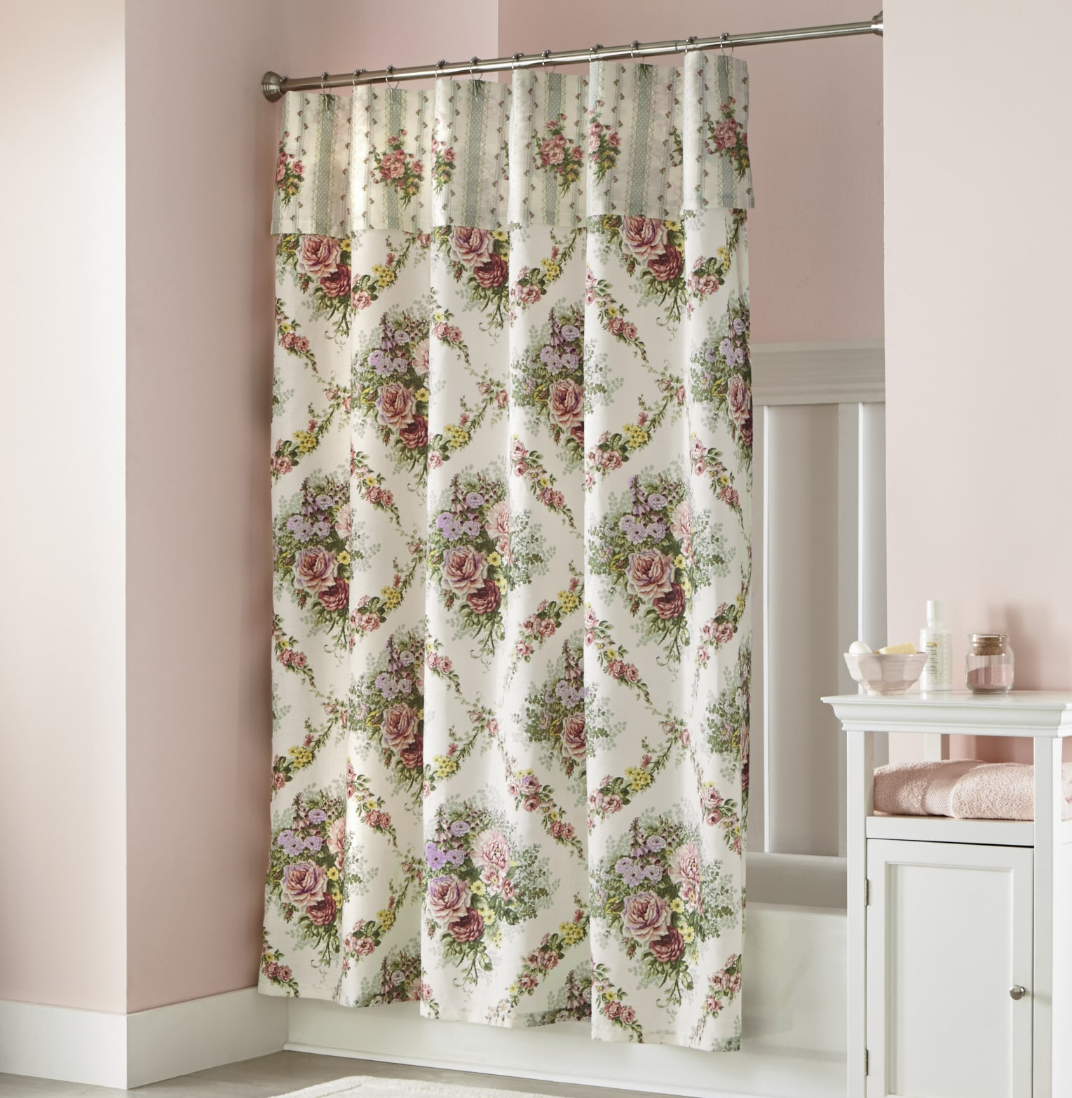 Cottage Shower Curtain Cottage Rose Shower Curtain With Attached Valance Seventh Avenue