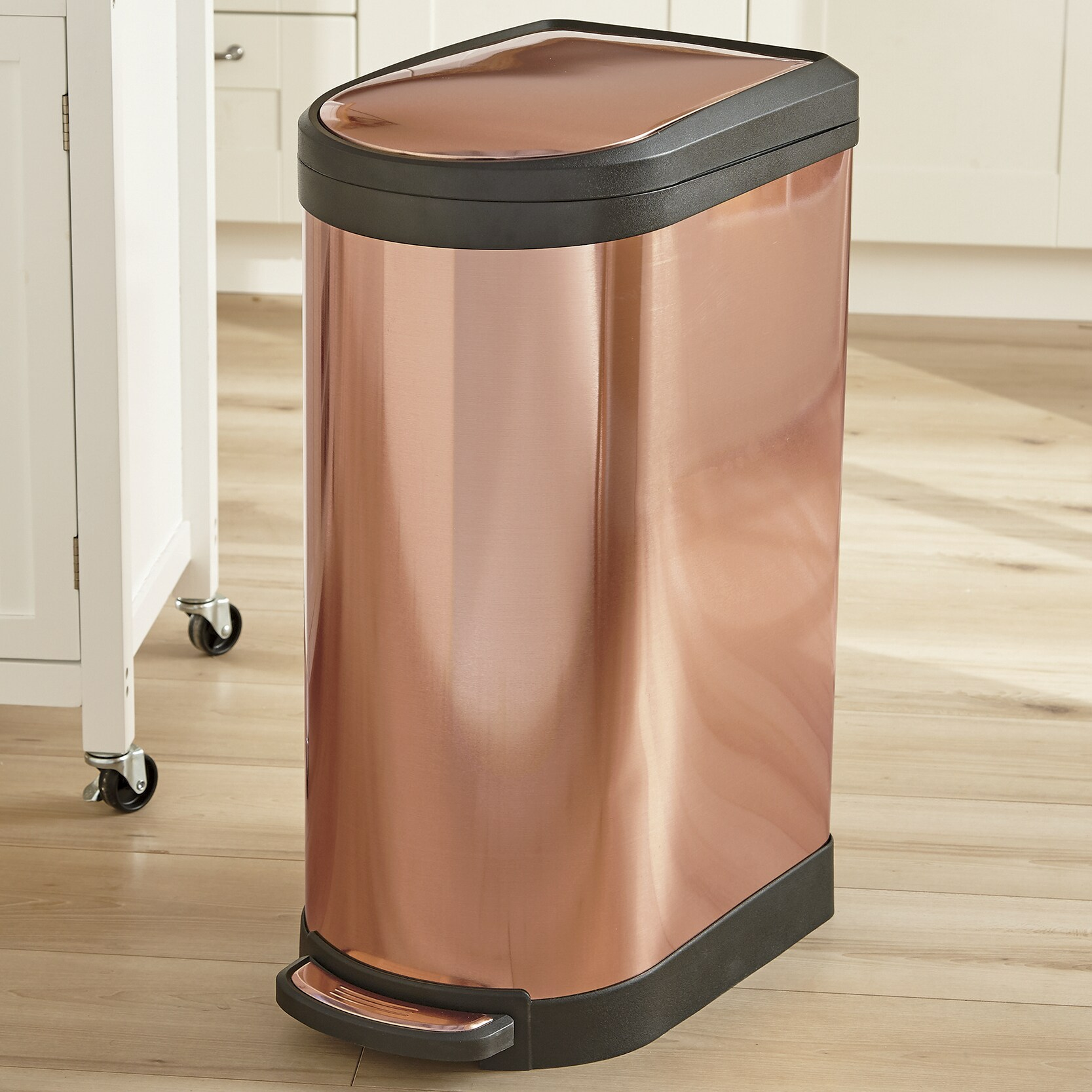 Copper Trash Can With Lid 10 5 Gallon Fingerprint Proof Trash Can Seventh Avenue