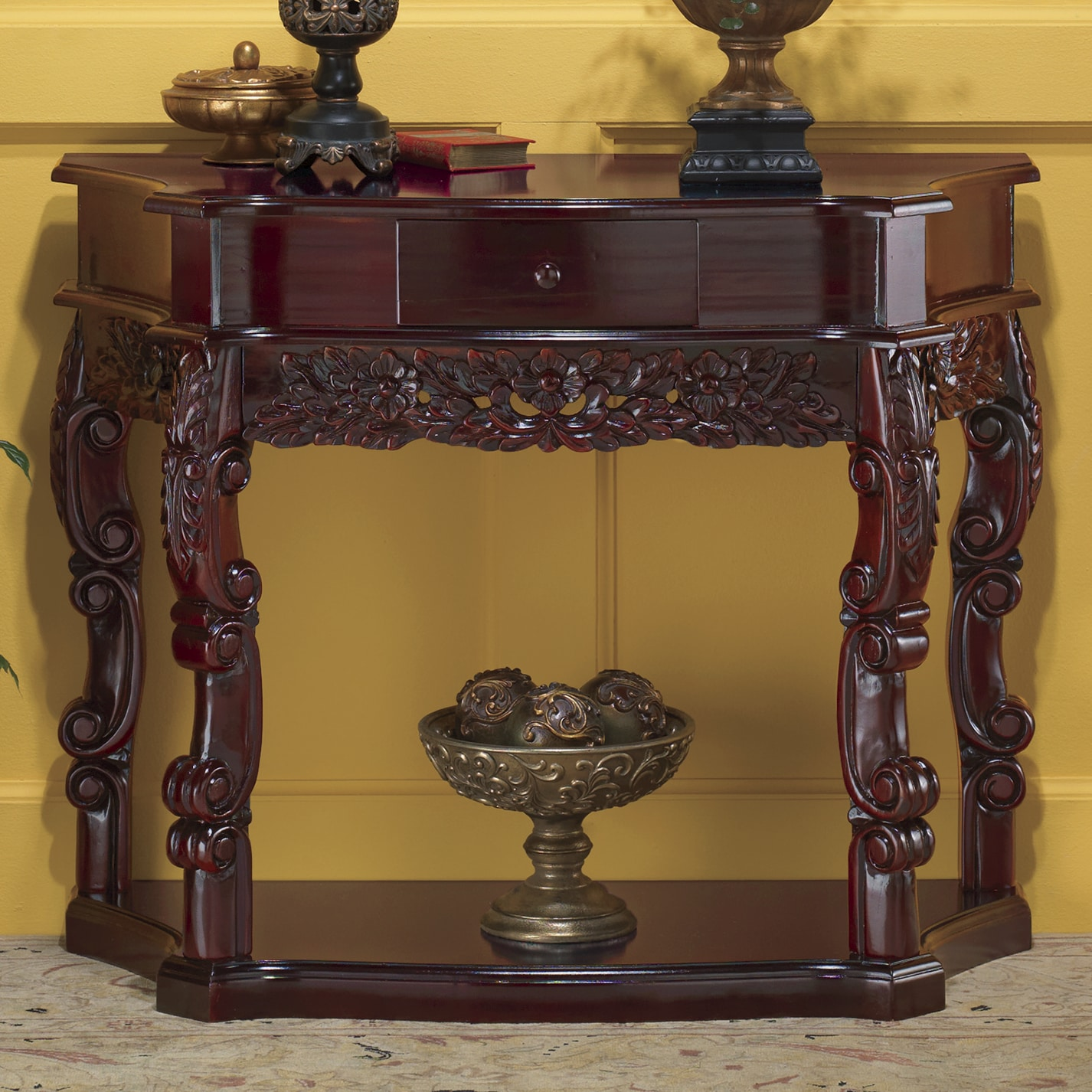 Table D Inversion Occasion Carved Curved Console Table Seventh Avenue