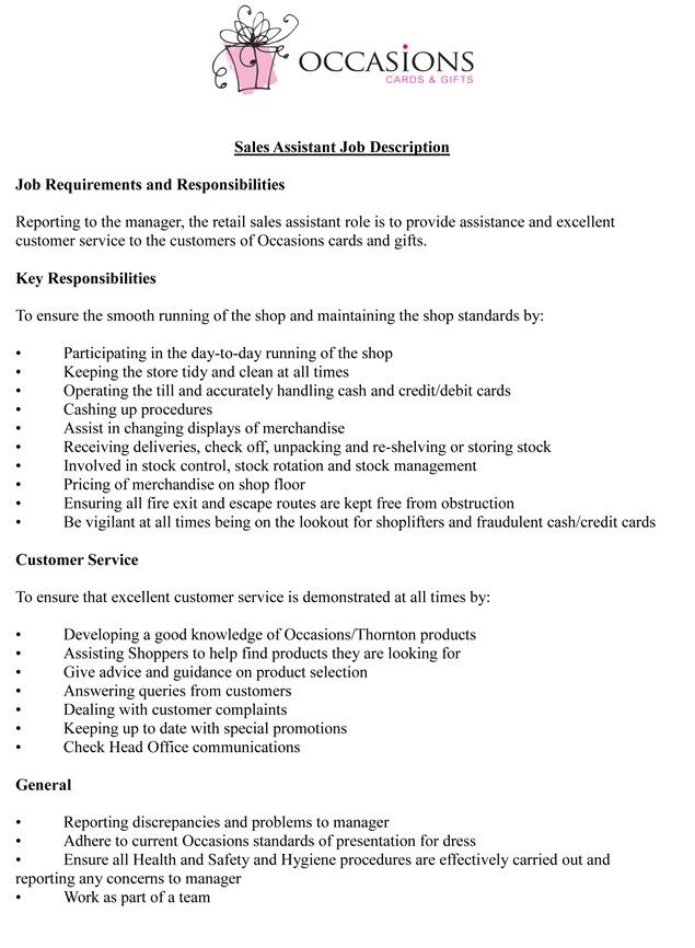 assistant sales manager job description