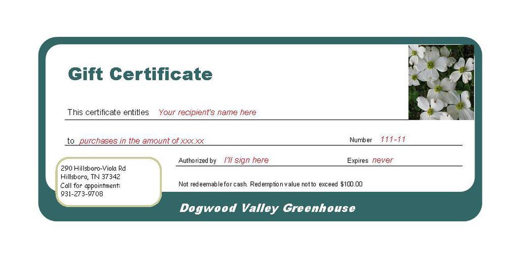 merchandise certificates - Towerssconstruction