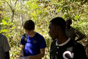 Robinson explains how he tends to his coffee seedlings.