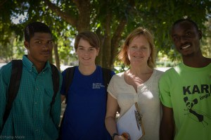 This is the core of our project team, from left to right: Noel Maxo, Keri Bryan, Deborah McGrath, and Bosquet. Maxo and Bosquet are Zanmi Agrikol agronomists who have been working on a completely volunteer basis at CFFL and with our project since September. Both graduated from Universities in Port au Prince in Agronomy and concentrated on coffee culture in Haiti.
