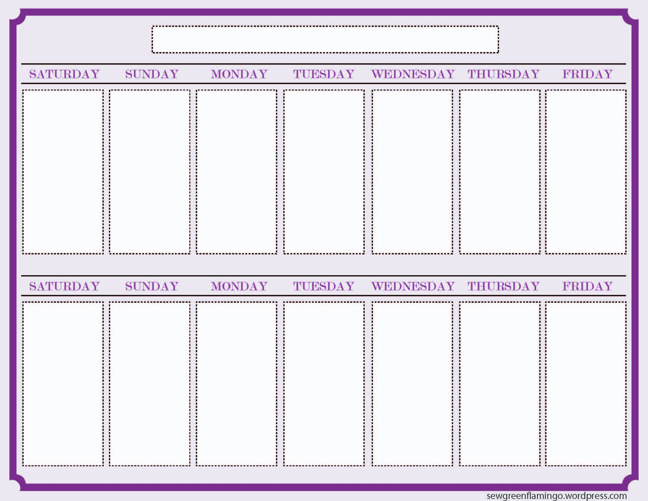 Week Calendar 2015 Printable Printable 2 Week Calendar