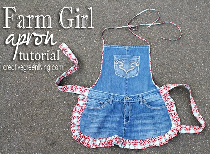 farm girl apron from recycled jeans
