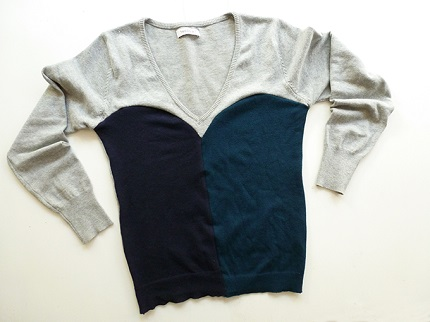 Tutorial: Color blocked sweatheart neck sweater