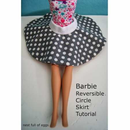 Tutorial: Reversible circle skirt for a Barbie