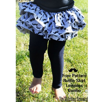 Free pattern: Little girl ruffled skirt with attached leggings