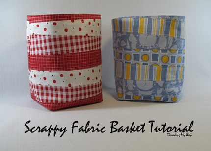Tutorial: Scrappy fabric baskets