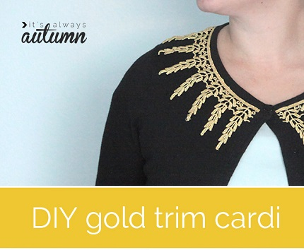 Tutorial: Add gold trim to a plain cardigan