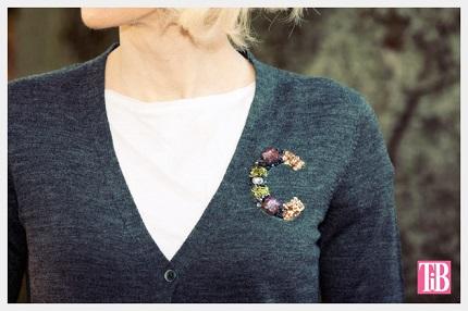 Tutorial: No-sew jewel monogrammed sweater