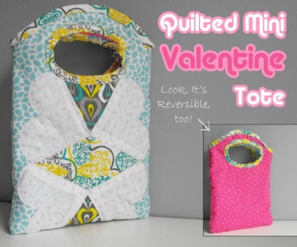 Tutorial: Reversible quilted Valentine mini tote