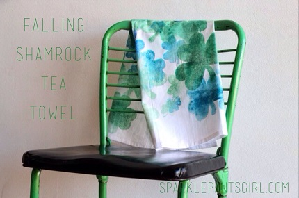 Tutorial: Falling Shamrock watercolor tea towel