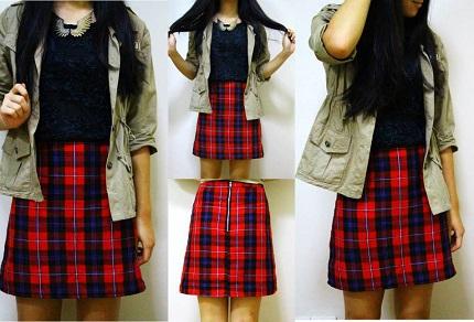 Tutorial: A-line tartan skirt