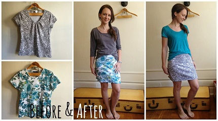 Tutorial: Make a reversible spring mini skirt from two t-shirts