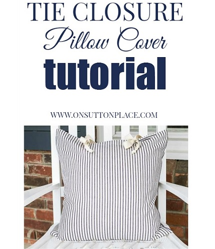 Tutorial: Tie top throw pillow cover