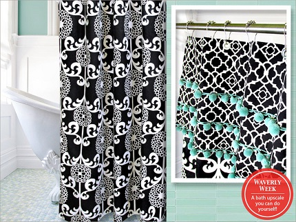 Tutorial: Shower curtain with a pom pom valance