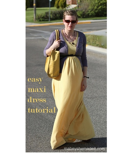 Tutorial: Easy maxi dress from a jersey knit sheet
