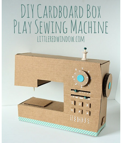 Tutorial diy cardboard box play sewing machine