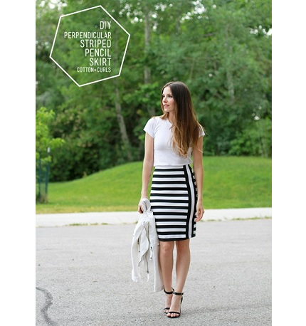 Tutorial: Turned stripes knit pencil skirt