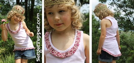 Free pattern: Girl's racer back hi-low tank with a pretty pleated neck