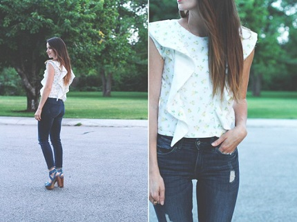 Tutorial: Flounce sleeve crop top