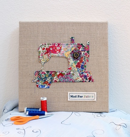 Tutorial: Scrap fabric sewing machine wall art