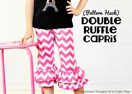 Free pattern: Girl's double ruffle capri pants