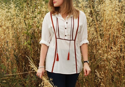 Tutorial: Boho romance ribbon trimmed shirt