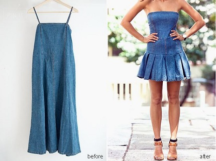 Tutorial: Pleated denim mini dress refashion