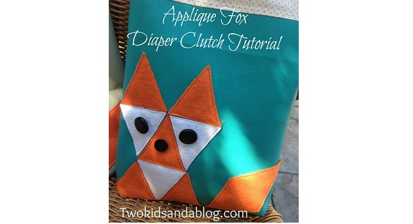 Tutorial: Fox applique zippered diaper clutch