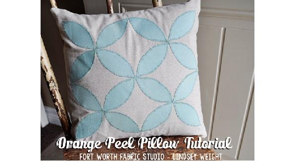 Tutorial: Orange peel appliqued throw pillow