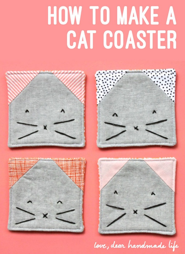 Tutorial Kitty Coasters Sewing
